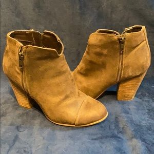 Brown Faux Zipper Leather Booties